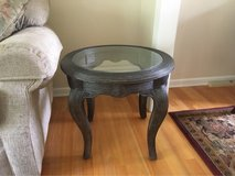 Pencil Reed Bamboo Glass Top End Table in Palatine, Illinois