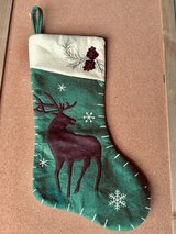Green Christmas Stocking w/Reindeer in Glendale Heights, Illinois