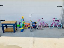 Kids items. Table, bikes, 3ft tall toy in Warner Robins, Georgia