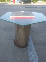 $40 Beautiful Custom Made Small Tree Stump Base End Table with Glass Top in Baytown, Texas
