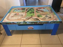 Thomas Wooden Railway Grow With Me Play Table w/Drawer Fisher-Price EUC in Travis AFB, California
