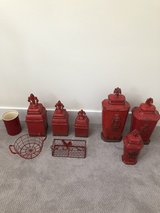 Lot of Red Kitchen Decor Ceramic Canisters Hobby Lobby in Conroe, Texas
