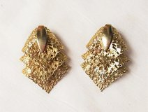 Sarah Coventry Gold Tone Vintage Clip On Earrings Filigree Engraved in Kingwood, Texas