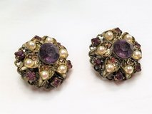 Vintage Collectible West Germany Silver Tone Purple Gems Stone Pearl Earrings in Kingwood, Texas