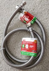 "TWO steel braided water supply line hoses (30"" + 24"") sink & dishwasher 3/8 comp x 1/2 FIP in Bartlett, Illinois"