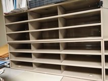 Steel bin metal shelving units with divider slots for paper documents + organizing storage shelves in Westmont, Illinois