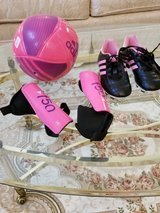 Girl's Youth Soccer Girl's Pink Cleats Toddler Size 12, Shin Guards Toddler Medium and Soccer Ba... in Plainfield, Illinois