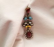 Bronze Tone Blue Bead Drop Dangle Hook Earrings Boho Turquoise Blue Red Maroon Gem Stone in Kingwood, Texas