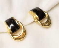 Vintage Black Gold Tone Drop Dangle Clip On Earrings Statement in Kingwood, Texas