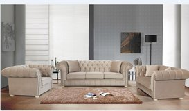 United Furniture - Manchester - Sofa-Loveseat-Chair in Light Cream Velours including delivery in Wiesbaden, GE