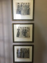 Three Framed French Fashion Prints in Oswego, Illinois