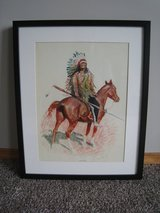 """Vintage Frederic Remington Framed """"A Sioux Chief"""" Lithograph in Glendale Heights, Illinois"""