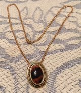 Pendant Tigers Eye Stone Vintage Gold Colored Setting Matching Chain in Kingwood, Texas
