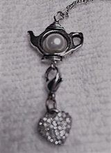 Teapot with Vintage Cling Heart Charm Pendant on Dainty Sterling Chain in Houston, Texas