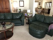 Green Leather Sofa and Loveseat in Travis AFB, California