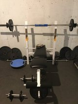 Weight Bench with assorted weights in Plainfield, Illinois