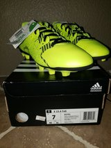 Brand New Neon Green Addidas Cleats - Youth/Juniors Size 7 in Travis AFB, California