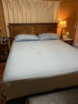 Queen size bed, frame, mattress, box spring in Okinawa, Japan