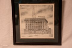 Beautiful architectural sketch of the Southern Pacific Building in Tomball, Texas