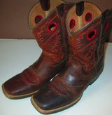 size 6 Ariat Kids Roughstock Square Toe Westerm Boots Dark Brown Kids in Fort Campbell, Kentucky