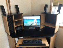 Two year old HP with desk, six speaker Logitech system,  and chair in Okinawa, Japan