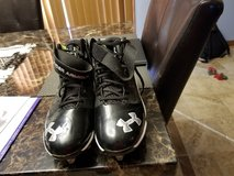 Mens 10 1/2 under armour football cleats worn once in Fort Leonard Wood, Missouri