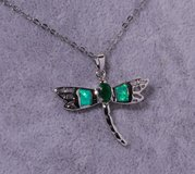 New - Dragonfly Green Fire Opal and Green Quartz Silver Pendant (Includes a chain) in Alamogordo, New Mexico
