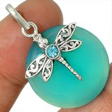 New - Dainty Dragonfly Aqua Chalcedony & Blue Topaz 925 Sterling Silver Pendant (Includes a chain) in Alamogordo, New Mexico
