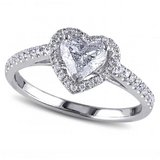 CLEARANCE ***BRAND NEW***Clear Heart Cut Halo Ring***SZ 7 in Houston, Texas