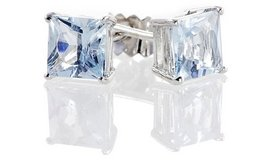 CLEARANCE ***BRAND NEW 2CTTW Princess Cut Aquamarine Earrings*** in Cleveland, Texas