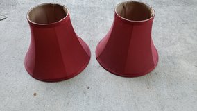 2 deep red lampshades in Houston, Texas