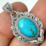 New - Sleeping Beauty Turquoise 925 Sterling Silver Pendant (Includes a chain) in Alamogordo, New Mexico