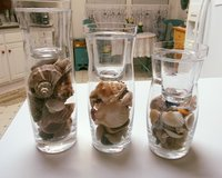 3 candle holders fill with seashells in Alamogordo, New Mexico