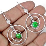 New - Green Copper Silver Turquoise and Pearl 925 Sterling Silver Earrings in Alamogordo, New Mexico