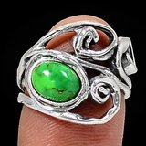 New - Mohave Green Turquoise 925 Sterling Silver Ring - Size 6 in Alamogordo, New Mexico