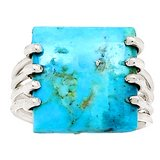 New - Sleeping Beauty Turquoise 925 Sterling Silver Ring - Size 6.5 in Alamogordo, New Mexico