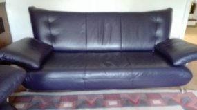 Set Couch genuine Leather blue 3 pieces in Ramstein, Germany