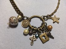Vintage Charm Necklace Unusual Repurposed Pieces Brass Gold Silver Crystals Pearl Mother of Pear... in Kingwood, Texas
