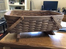 Longaberger Large Rocking Cradle Basket with 2 Handles and Fabric Liner - 1985 in St. Charles, Illinois