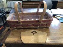 Longaberger Bread Basket with Wood Divider and Plastic Protector -1991 in St. Charles, Illinois