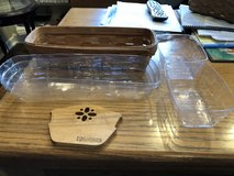 Longaberger 1988 Cracker Basket with Wood Divider, 2 Small Plastic Protectors & 1 Large Plastic ... in Oswego, Illinois