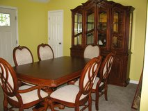 Dining Room Kitchen Pedestal Table Set with China Hutch Cabinet 2 Table Leaves in Fort Campbell, Kentucky