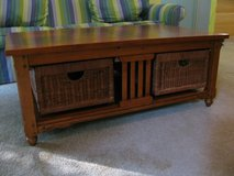 Coffee Table and 3 End Tables Wooden with Wicker Storage Drawers in Fort Campbell, Kentucky