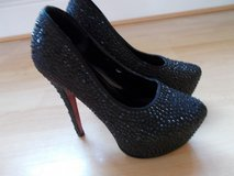 "Ladies Shoes size 3 by Krasceva Black Diamante 5"" Stiletto Platform in Lakenheath, UK"