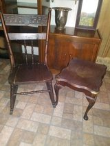 Beautiful Antique Medium Sized Solid Wood Rocking Chair and End Table Set in Baytown, Texas