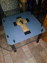 Custom One of a Kind Solid Wood Cross Table with Glass Top in Pasadena, Texas