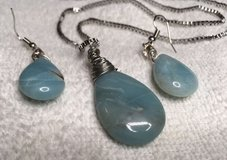 Jewelry Set Vintage Stones Blue Agate Tear Drop Large Box Chain Silver in Kingwood, Texas