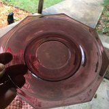 antique amethyst Hazel Atlas Glass octagon saucer plate in Warner Robins, Georgia