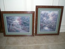 2 Framed Country Town Prints in Aurora, Illinois