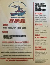 Preschool Open House Aug. 26th in Fort Lewis, Washington